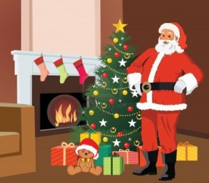 9688929-santa-claus-standing-with-christmas-tree-and-gifts